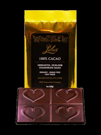 100% Cacao - Organic Vegan Dark Chocolate Bar