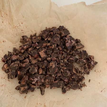 Chopped Cacao Crunch chocolate bar for vegan chocolate mousse base